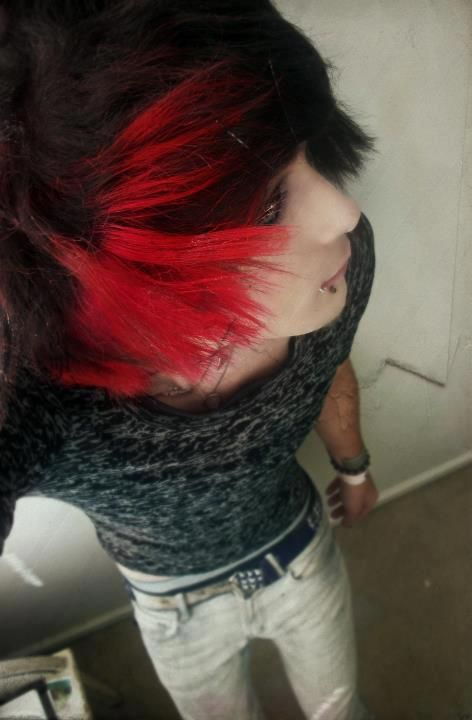 scene boy with red and black hair