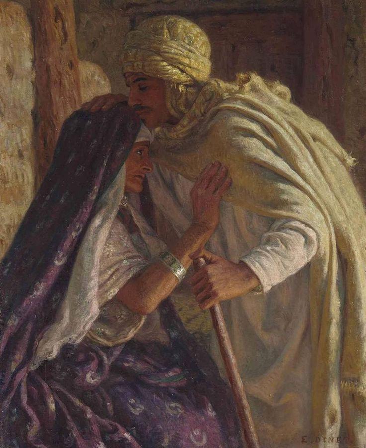 الفنان المبدع : نصر الدين دينيه ، يعبر في إحدى لوحاته عن بر الوالدين و قد