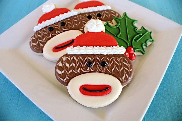 Christmas sock monkey cookies! (tutorial by Sugarbelle's)