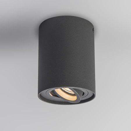 Plafondspot Rondoo Up donkergrijs - Zeer stijlvolle eenvoudige spot in cilinder vorm. De spot is inwendig draai- en kantelbaar. Volledig gemaakt uit aluminium, gelakt in een donkergrijze struktuur lak. Overal toe te passen.