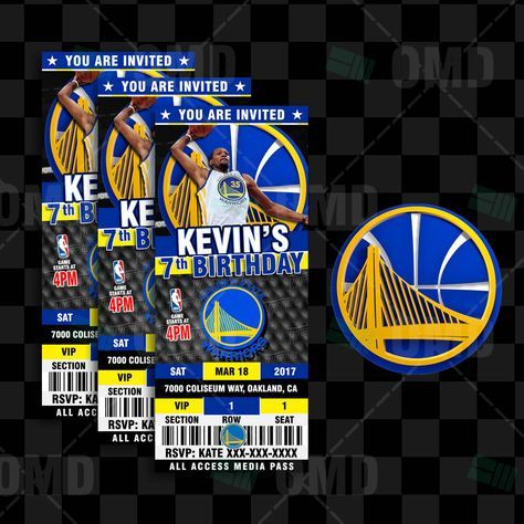 Kevin Durant Golden State Warriors Basketball Ticket Style Invite