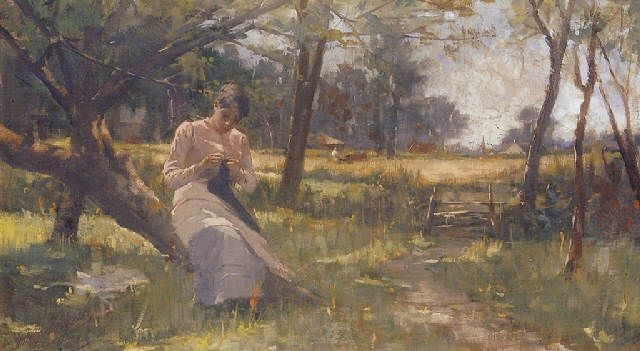 """Anna Nordgren, """"Young Girl Sewing Beneath a Tree"""""""