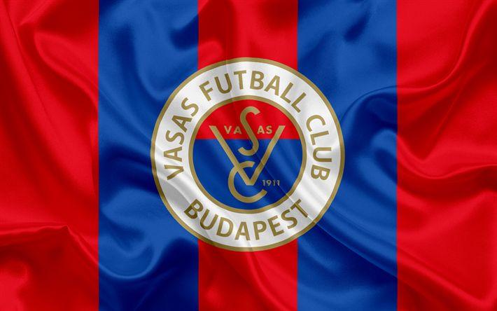 Descargar fondos de pantalla Vasas FC, húngaro Club de Fútbol, emblema, logo, bandera de seda, Budapest, Hungría, del fútbol, de la liga de fútbol de hungría