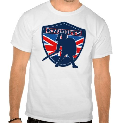 """Knight with sword shield GB British Flag Tshirts. illustration of a Knight silhouette with sword and shield facing side with GB Great Britain British union jack flag in background inside shield words """"Knights"""" suitable as mascot for any sports or sporting club or organization. #illustration #Knightwithsword #rwc #rwc2015 #rugbyworldcup"""