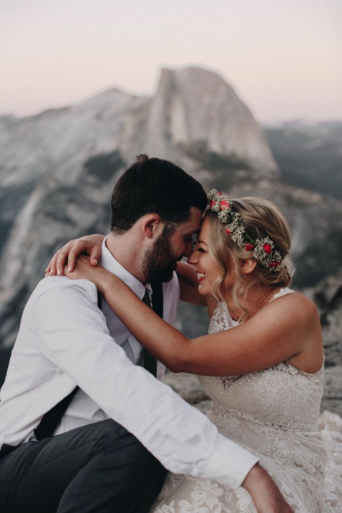 Sweet mountain wedding portrait at Yosemite National Park | Image by From The Daisies