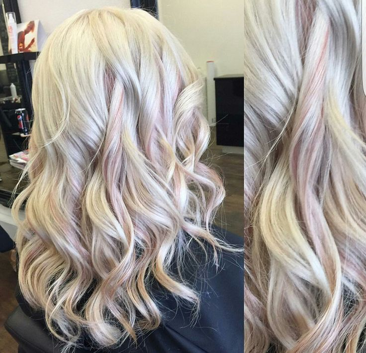 Platinum Blonde And Rose Gold Accents Hair Long Hair