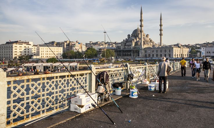 https://flic.kr/p/B2mjHt | Fishing rods #river #temple #water #blue #sky #sunset #fishingrods #needles #people #bridge