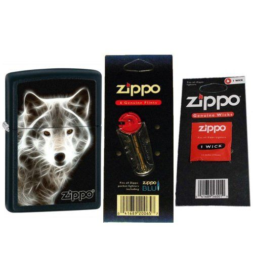 Zippo 28303 Classic White Wolf Black Matte Zippo Logo Windproof Lighter with One Flint Card and One Wick Card * You can get more details by clicking on the image.(This is an Amazon affiliate link and I receive a commission for the sales)