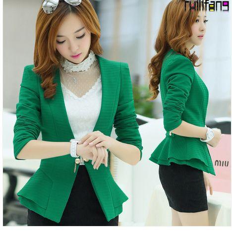 nueva primavera 2014 de color sólido de marca para mujer abrigos de prendas de vestir exteriores de un solo botón para mujer chaquetas de color verde moda slim básico trajes de chaqueta de abrigo