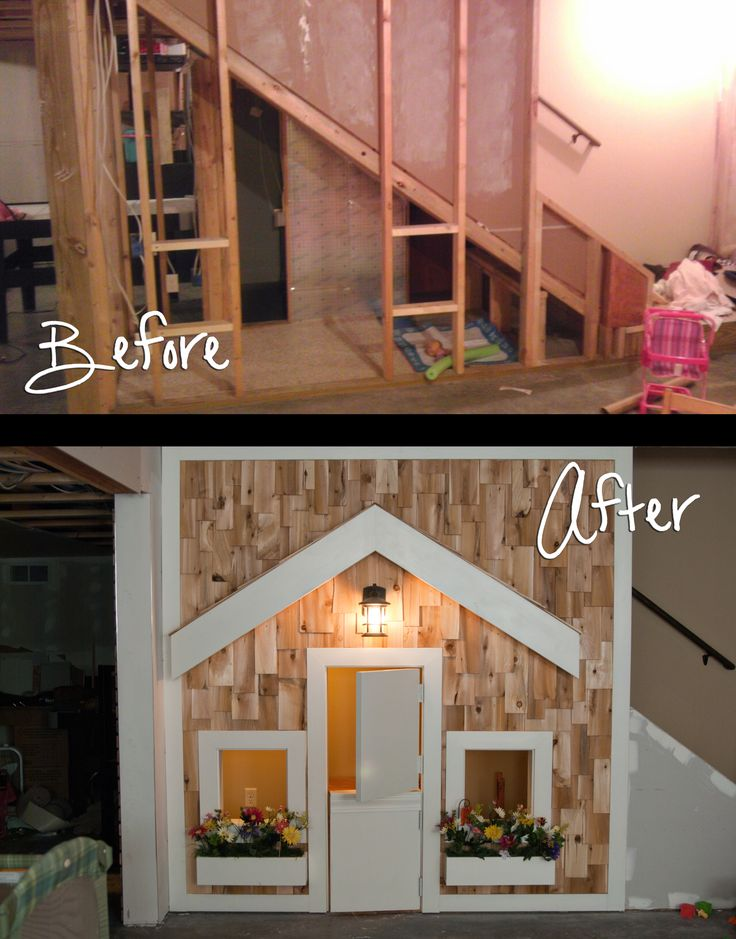 "Playhouse under the stairs for the kids.  This is the ""girls"" side complete with a dutch door, porch light and window flower boxes.  Sometimes it is a playhouse, other times it is a doctors office, school or starbucks drive thru!"