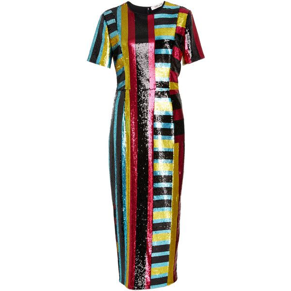 Diane von Furstenberg Saxon Stripe Sequin Dress ($1,700) ❤ liked on Polyvore featuring dresses, diane von furstenberg, stripe, sequin dresses, striped dress, diane von furstenberg dress and panel dress