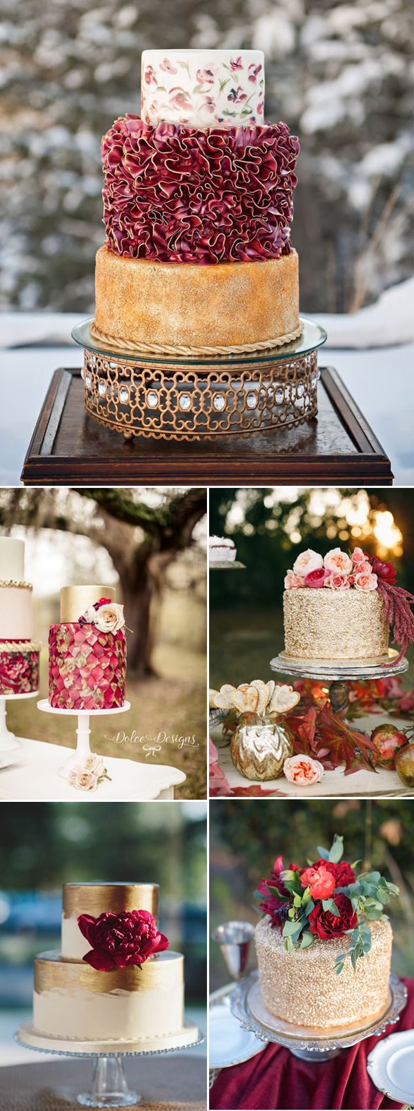 Gold and Marsala Wedding Cakes for fall marsala weddings
