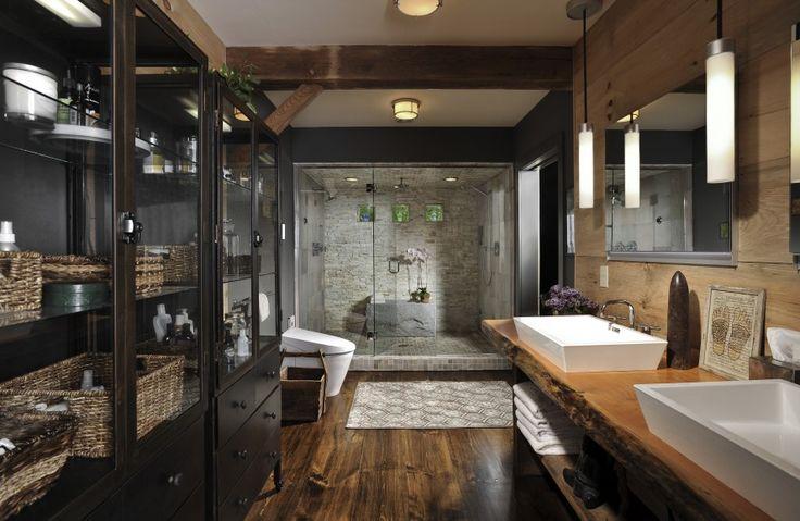 Rustic Bathroom Interior Design With Wood Laminate Flooring Wood Panel Textured…