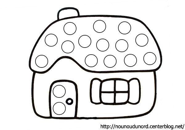 Coloriage à gommettes la maison dessiné par nounoudunord.