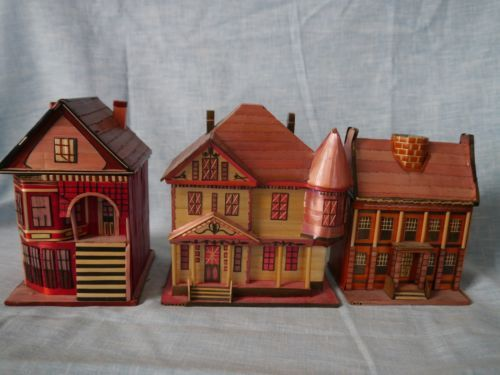 Details About Vintage Bamboo Balsa Wood Mini Houses
