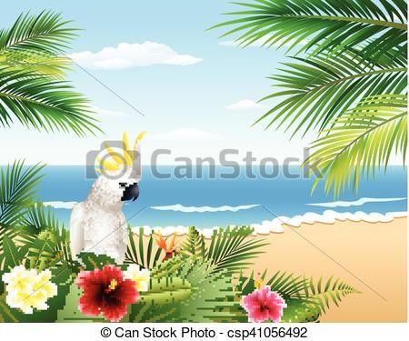 Vector - tropische, strand, kaart - stock illustratie, royalty-vrije illustraties, stock clip art symbool, stock clipart pictogrammen, logo, line art, EPS beeld, beelden, grafiek, grafieken, tekening, tekeningen, vector afbeelding, artwork, EPS vector kunst