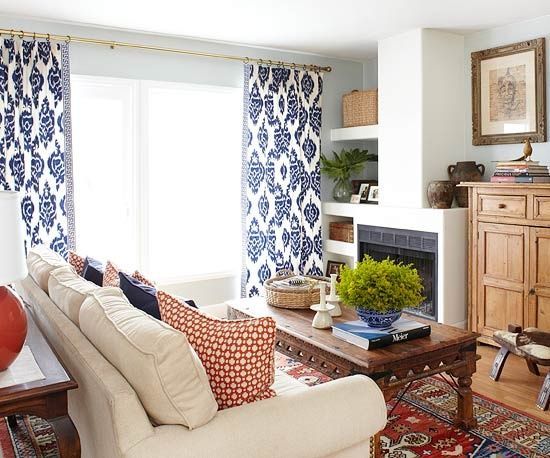 red, white, and blue living room.  love the curtains!
