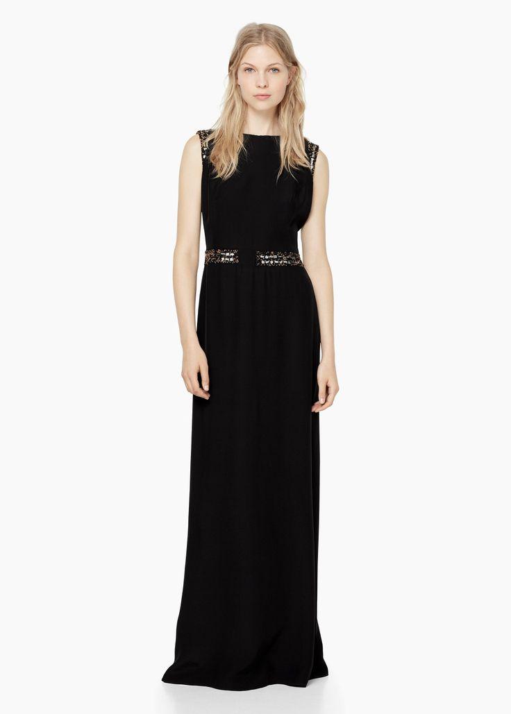 Lange jurk met kralen - Jurken voor Dames | MANGO