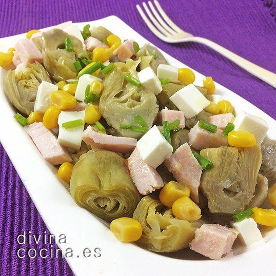 Ensalada de alcachofas con jamón y queso, de Divina Cocina: quita el maíz, controla el aceite y es apta para la dieta Dukan desde fase Crucero o para la NUEVA dieta Dukan (Escalera) desde el martes