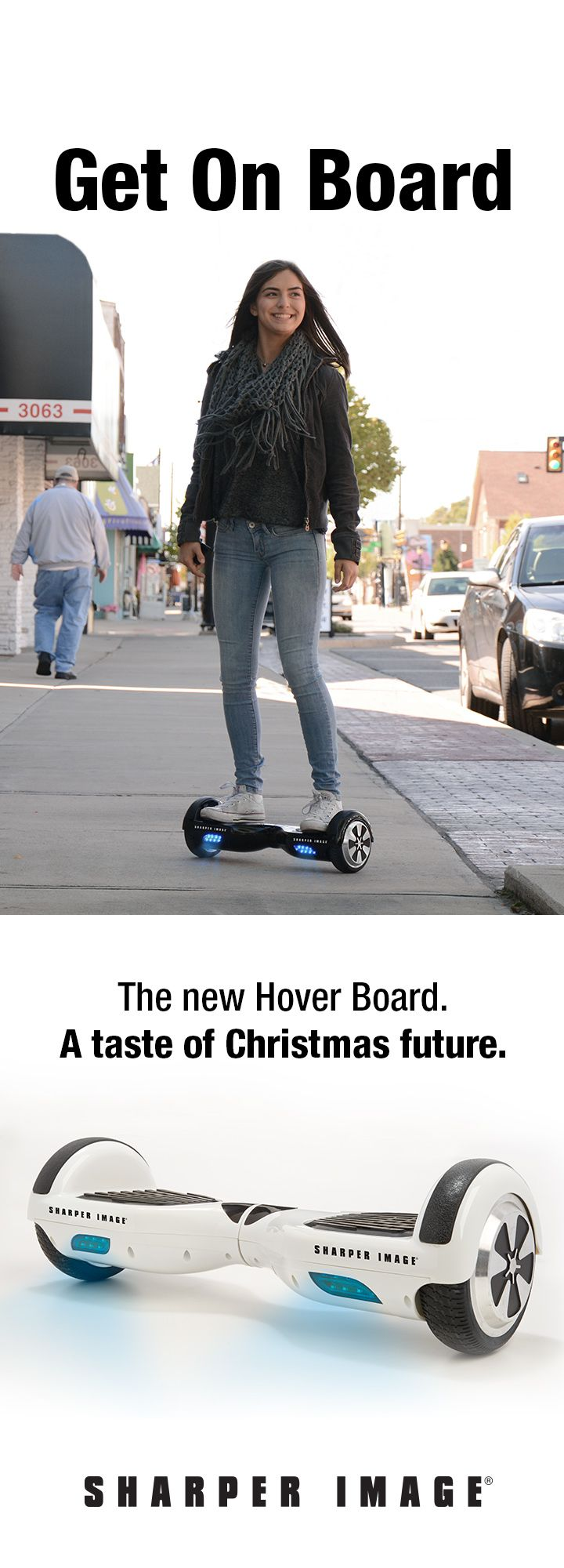"""The future of personal transportation has arrived at Sharper Image! """"Fly"""" around town on the amazing Hover Board!"""