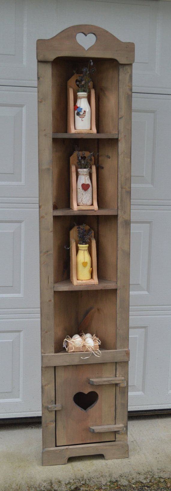 Country Corner Hutch with Wooden Hinges / Primitive Hutch