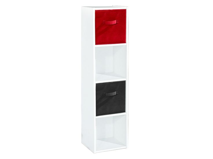 Biblioth que modulable 4 cases modulo 4 coloris blanc vente de armoire et b - Bibliotheque 6 cases ...