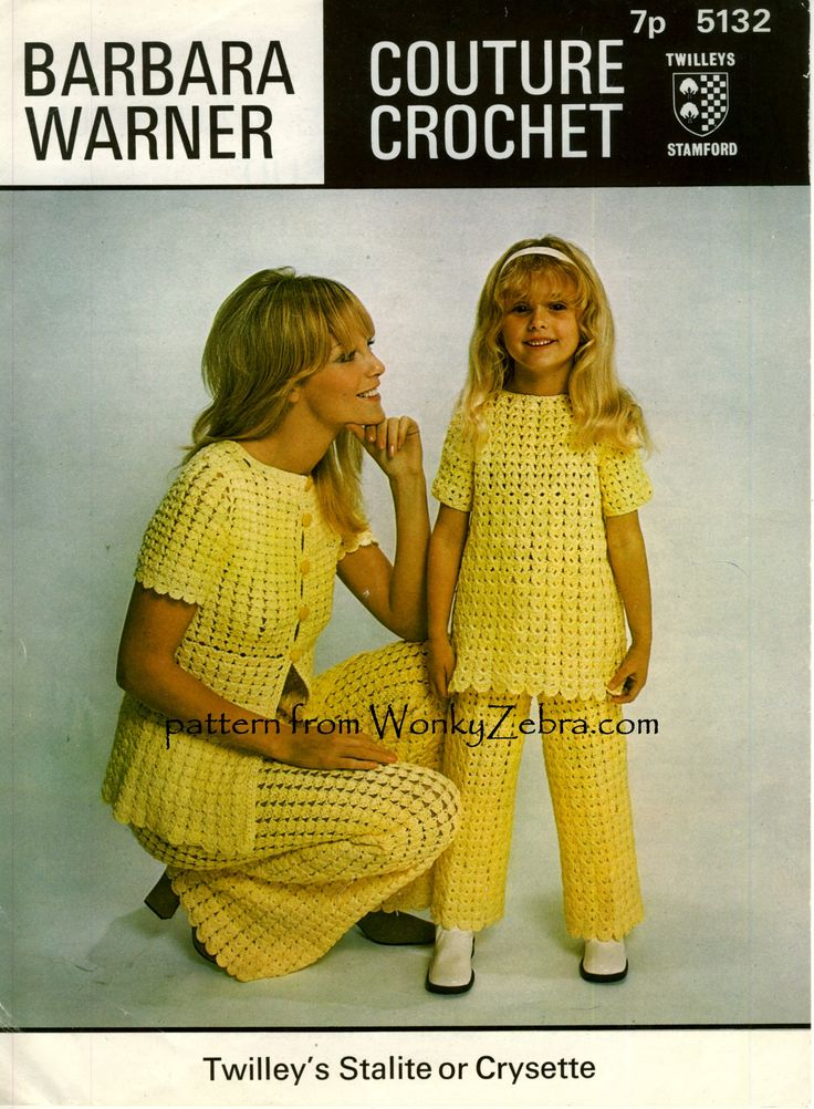 WZ644  Barbara Warner couture crochet pattern 5132. A neat trouser suit or pantsuit in mother and daughter sizes. The pretty empire line jacket is reversible-apparently!-