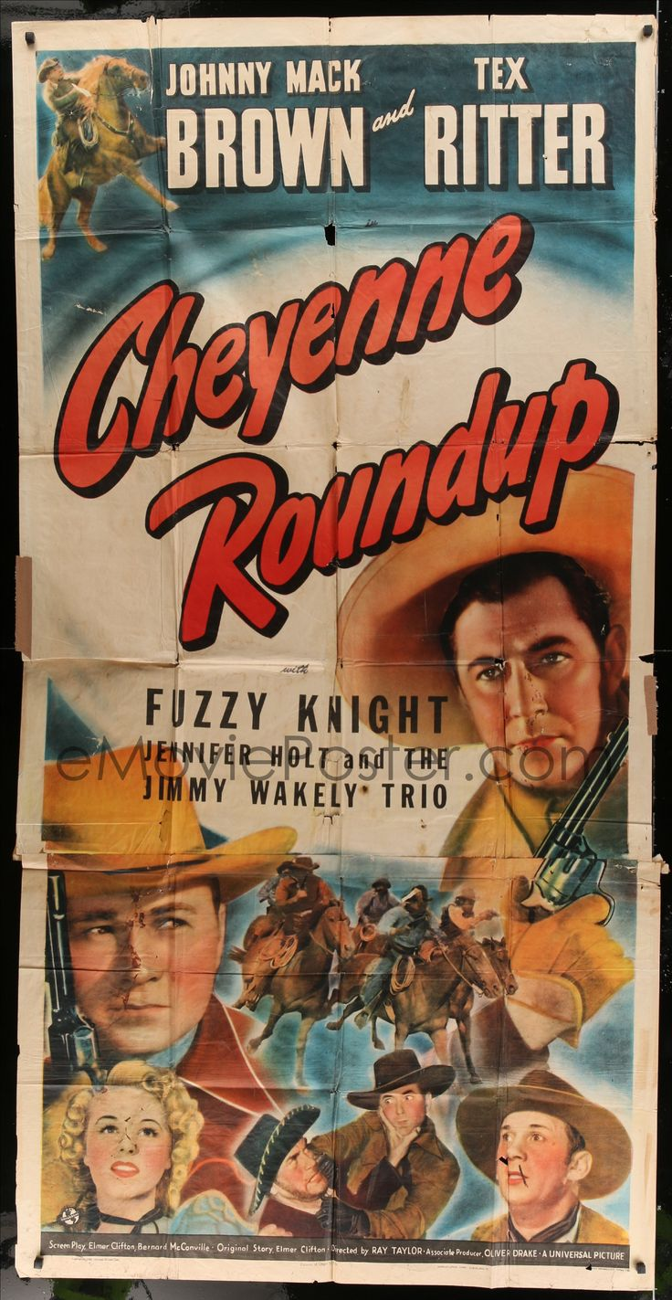 eMoviePoster.com Image For: 5w349 CHEYENNE ROUNDUP 3sh '43 Johnny Mack Brown, Tex Ritter, Fuzzy Knight!