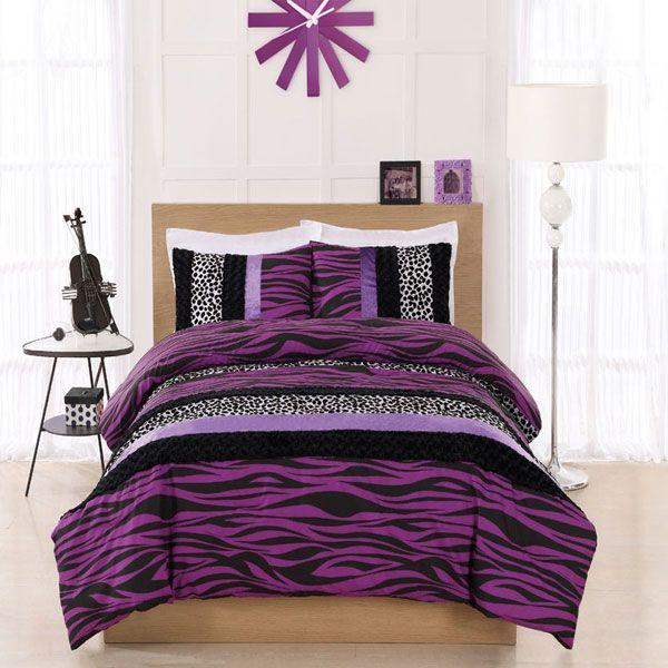 Teen Twin Bedding For Girls Twin Cosmo Girl Purple Zebra