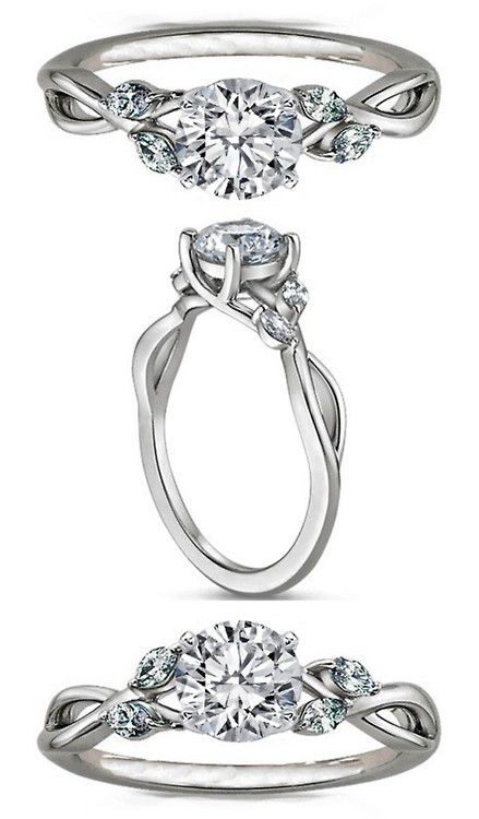 Floral Diamond Engagement Ring Marquise Vine in 14K White Gold
