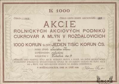 A1172 / Muzeum cennych papiru / Rolnické akciové podniky, cukrovar a mlýn v Rožďalovicích, akcie na jméno 100 Kč, Rožďalovice 19.9.1920 / AZP3CZ135