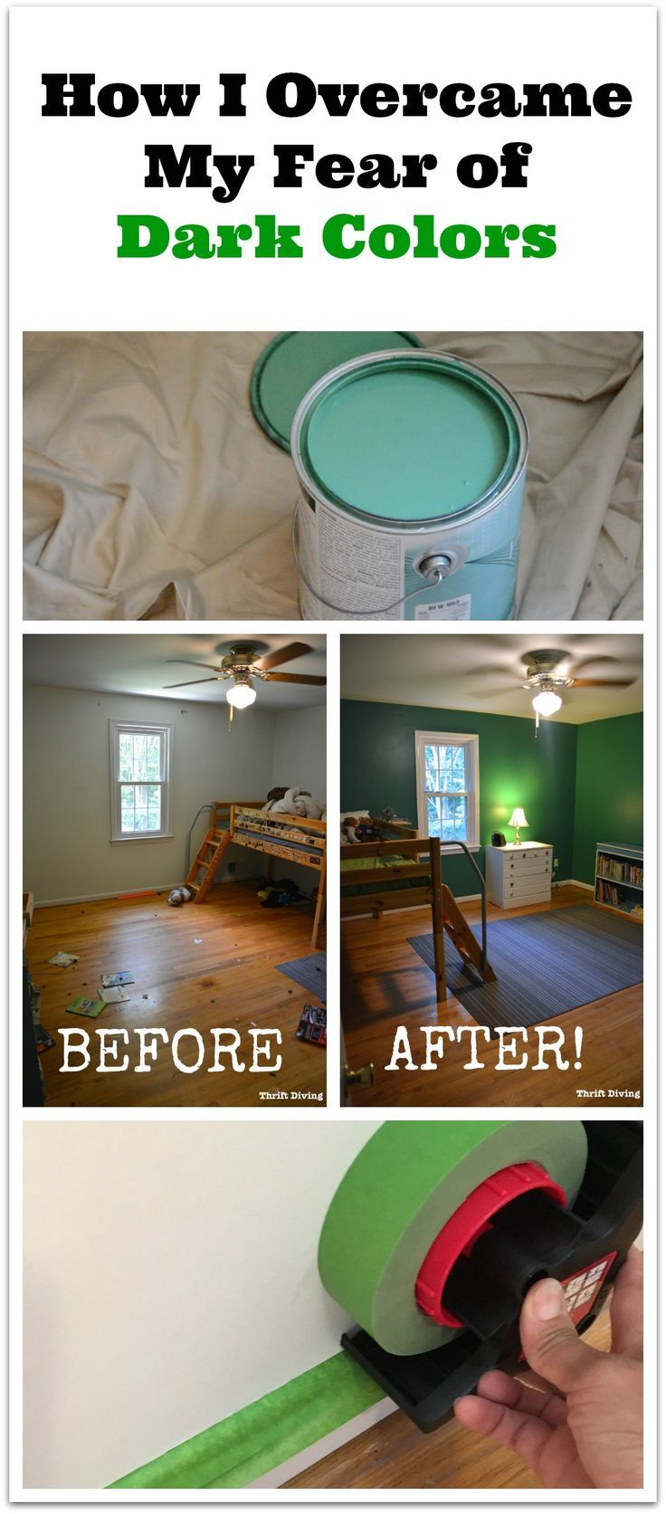Should you paint your rooms dark colors? I was scared of color, until I painted my kids' bedroom this darker color. See how I got over my fear of dark paint colors -- Read the blog post at Thrift Diving.