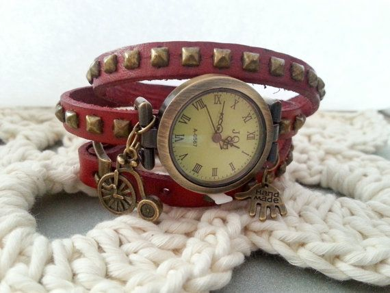 Purple scarlet leather long strap watch wrap Love Womens leather watch Bracelet Watch Wrist Watch with hand made and bicycle charm brads