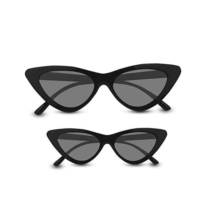 5f14ba66ce7 Livhò Retro Vintage Narrow Cat Eye Sunglasses for Women Clout Goggles  Plastic Frame (2 in 1 Black Grey)