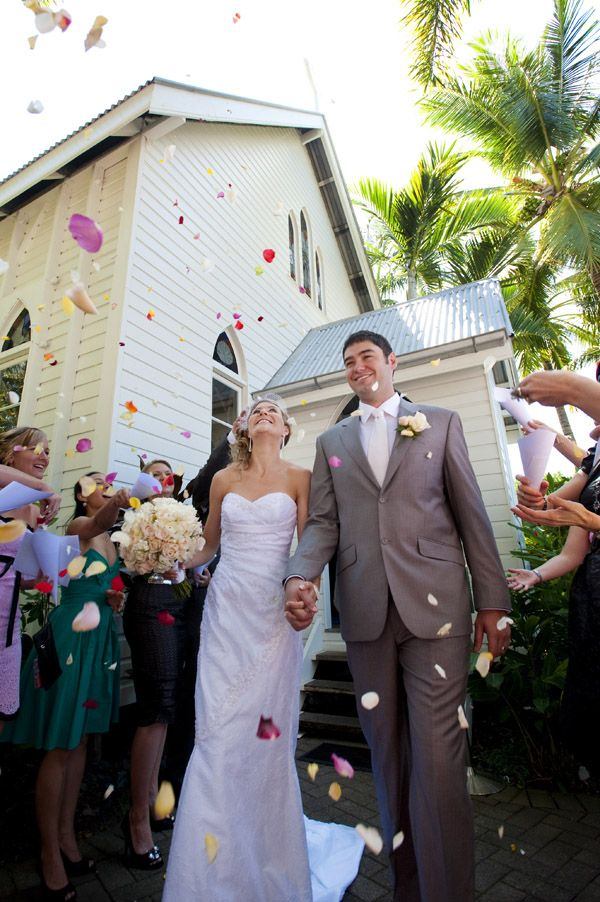 Confetti Shower Photo - I don't think this photo is very flattering, but it is at St Mary's By the Sea, Port Douglas