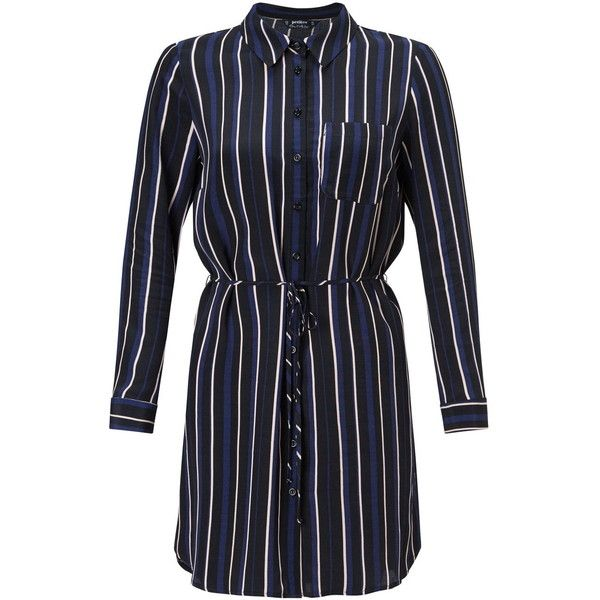 Miss Selfridge Petites Stripe Shirt Dress (€50) ❤ liked on Polyvore featuring dresses, navy, petite, navy dress, button shirt dress, navy striped dress, button dress and stripe shirt dress