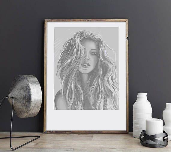 Lion Girl. Illustration art digital print signed A3 poster Art