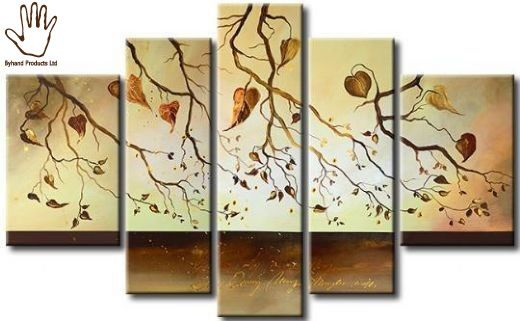 5 Piece Summer Leaves  Painting.  Strong African hand painting made on canvas. Suitable for living rooms, dining areas, corridors or offices. suitable for red colored walls, cream, white or yellow.  Size: 2M wide by 0.9M height. Available via www.nuerasamp.com. Delivered free worldwide.
