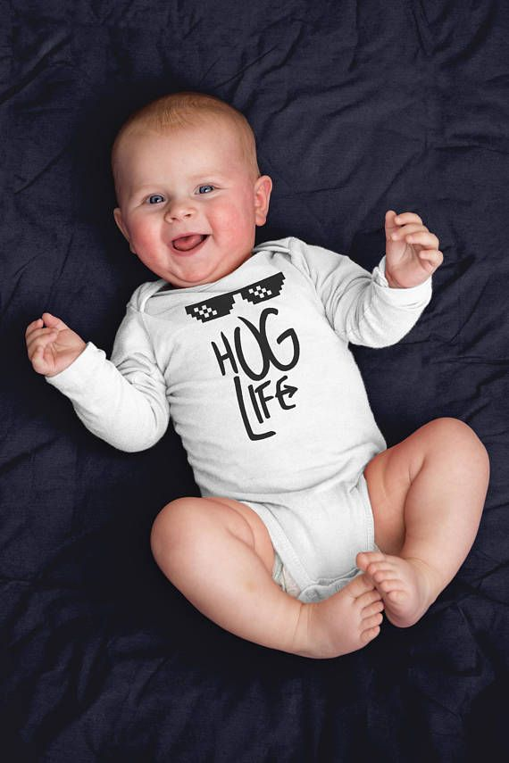 Hug Life Baby Onesie - Thug Life Funny Long Sleeve Bodysuit - Trendy Birthday Outfit - First Newborn Baby Clothes - Boy Girl Shower Gift. Funny baby onesies by WagaBumps that will grab the attention of family and friends, cause uncontrollable chuckling, and give your baby the last laugh. Designs printed directly on the onesie that will stretch with the fabric and won't fade, peel or crack through machine wash and tumble dry cycles. Three snaps at the bottom allow easy diaper changing