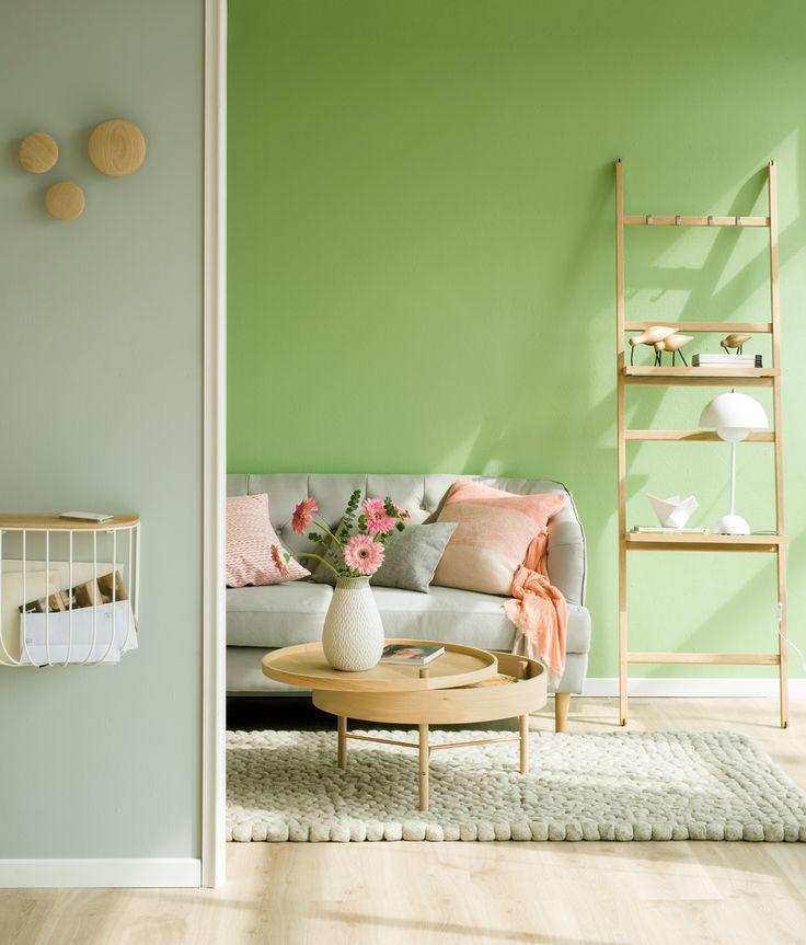 saln con pared verde y gris y parquet de madera clara o
