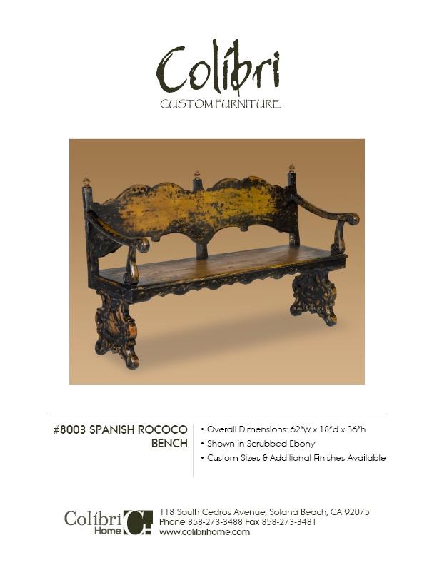 Benches - Colibiri Furniture: Colibiri Furniture, Haciendas Style Benches