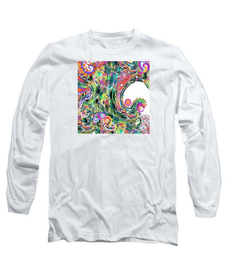 Original Exotic Abstract Waves Of Colorful Imaginary Digital Flowers And Spirals Twisting Vine-like Lines Long Sleeve T-Shirt featuring the painting Digital Gardiner by Expressionistart studio Priscilla Batzell