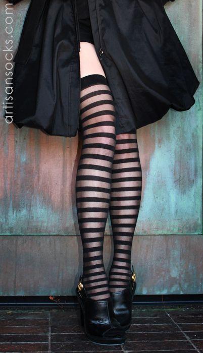 Sexy Sheer Stripe Thigh Highs- in 3 Colors! from Artisan Socks www.artisansocks.com