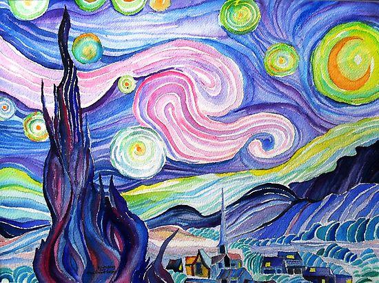 mi intento de la acuarela de la noche estrellada de Van Gogh ....... por Kevin McGeeney