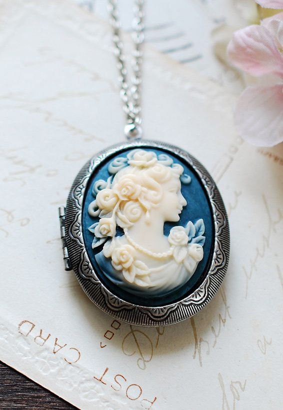 Vintage style beautiful necklace, I love it;  Large Cameo Locket Necklace. Azure Blue Ivory Lady