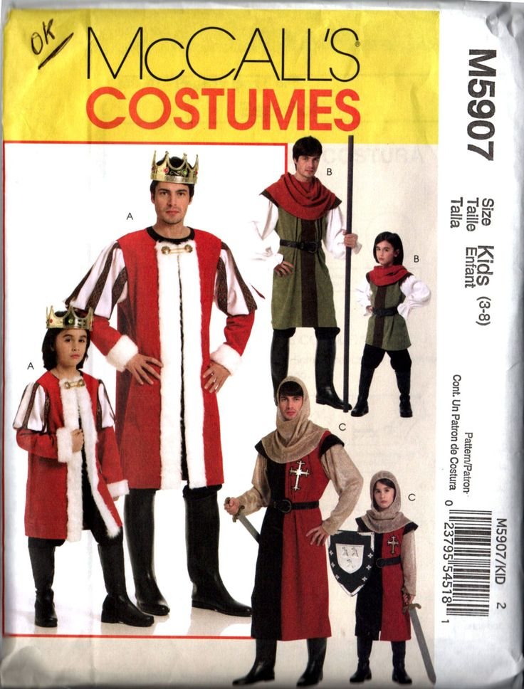 Children's/Boys' Medieval Period Costumes, McCall's M5907, Kids Sizes 3-8--King, Knight and Forrest Man/Robin Hood for Halloween, Faire, SCA by MickieSueToo on Etsy