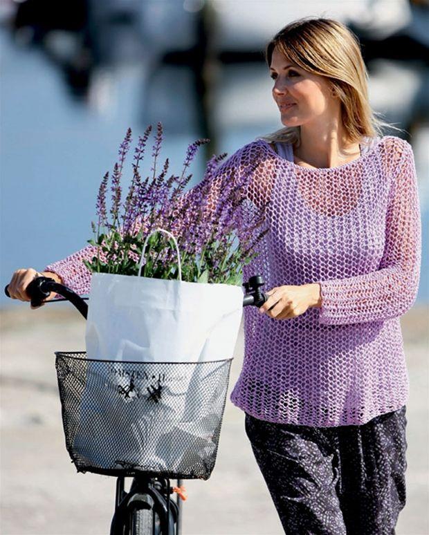 Det går lynhurtigt at strikket denne bluse i netmønster!
