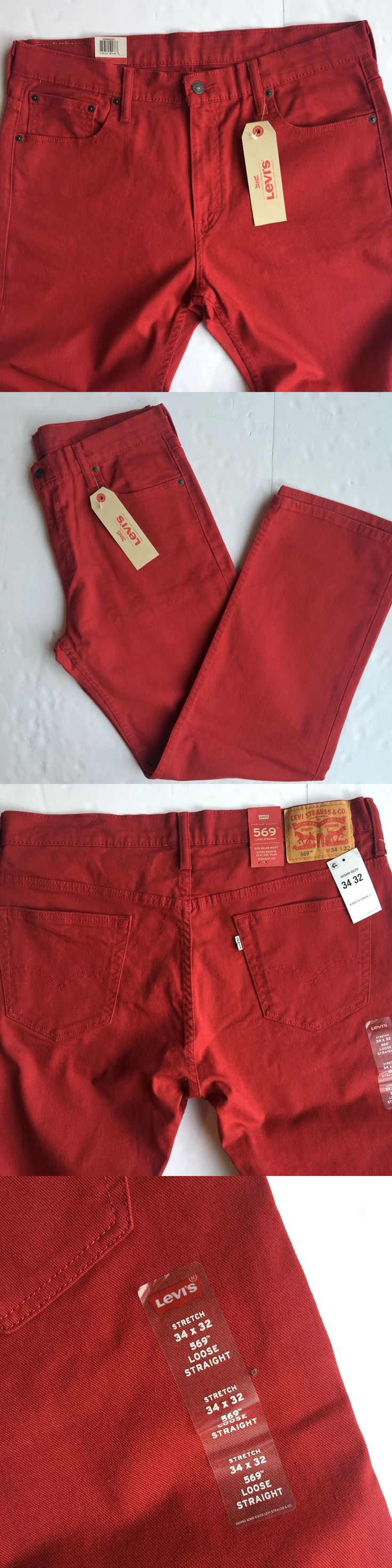 Jeans 11483: Levis 569 Loose Straight Stretch Red Denim Men S Jeans 34 X 32 New -> BUY IT NOW ONLY: $42.98 on eBay!