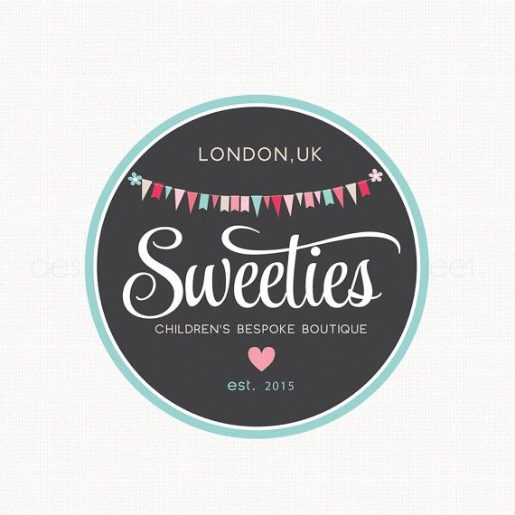 Premade Bunting Logo Children's Boutique Logo Party by stylemesweetdesign