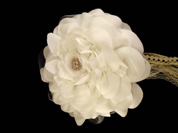 Wedding Bouquet / Big Wedding Rose Bouquet, Bridal Bouquet with crystal brooches, Ivory fabric flower, Brooch Bouquet / Retro Bouquet